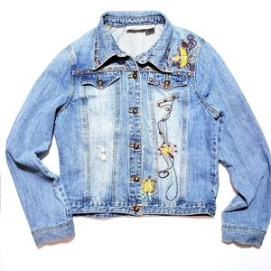 Newport News Distressed Embroidered Jean Jacket
